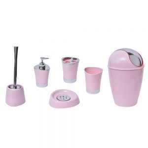 Bathroom Soap and Lotion Dispenser -Chrome Parts- Light Pink