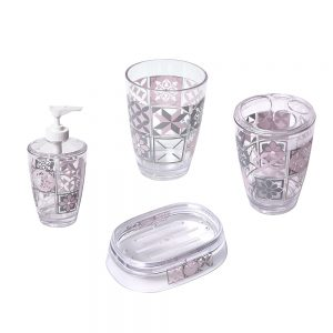 Clear Acrylic Printed Toothbrush and Toothpaste Holder Bastide