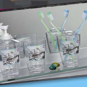 Urban Nyc Clear Acrylic Printed Bathroom Toothbrush and Toothpaste Holder
