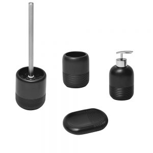 Dublin COLLECTION Bathroom Polyresin Toilet Bowl Brush And Holder Black