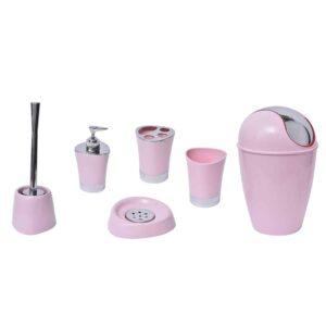 Round Bathroom Floor Trash Can Waste Bin 4.5-liters/1.2-gal - Light Pink