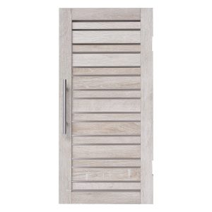 Custom DIY Louvre Door  -  Metal Chrome Handle - Washed Natural Wood