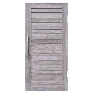 Custom DIY Louvre Door  -  Metal Chrome Handle - Washed Grey