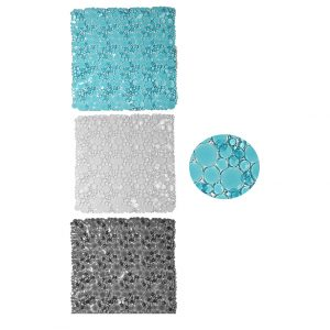 Non Skid Bathroom Shower Oval Bubbles Bath Mat 20 x 20 Inch  - Clear Grey