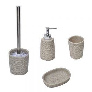 Rope COLLECTION  Bathroom Polyresin Soap Dispenser Natural