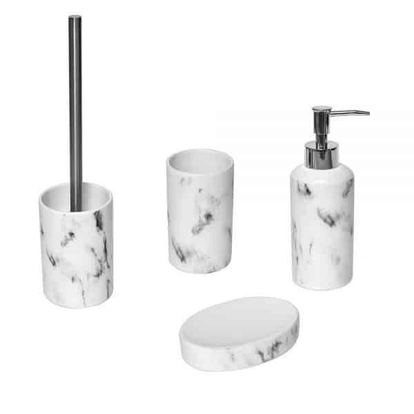 Marble Collection Bathroom Accessory Set 4-Pieces