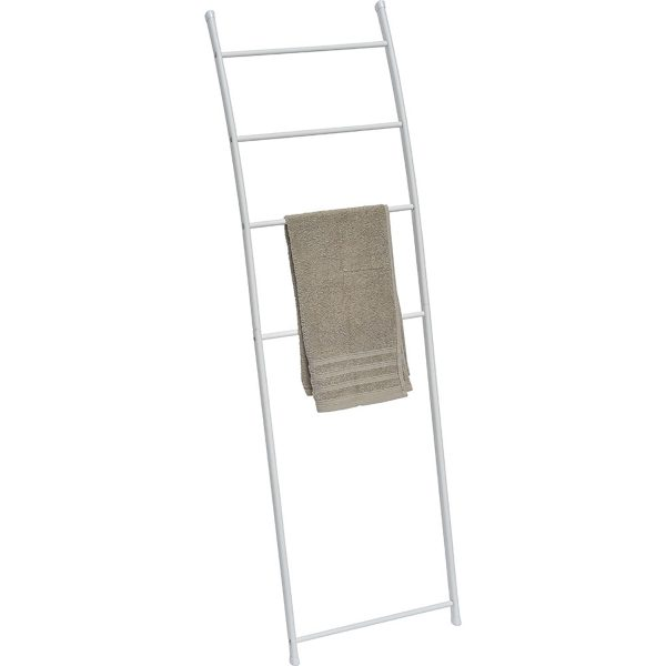 Free Standing Bath Towel Ladder Wall Leaning Drying Rack 4 Bars Metal White