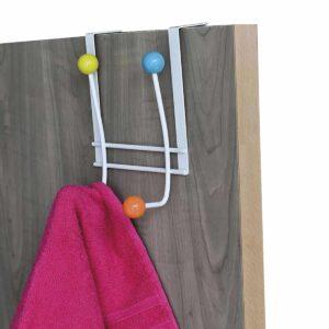 Over the Door 4 Hooks Metal Rack Multicolored