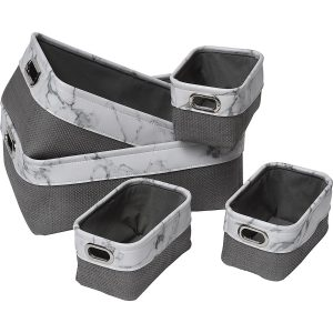 Faux Leather/Paper Rope Storage Baskets Marble Effect Set of 5 White-Grey