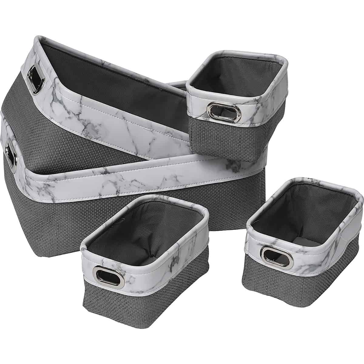 Superieur Faux Leather/Paper Rope Storage Baskets Marble Effect Set Of 5 White Grey