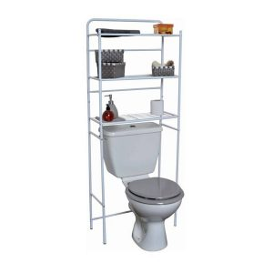 Over the Toilet Space Saver Cabinet Metal 3 Tier Wire Shelves White