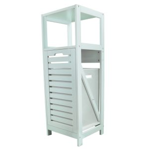 Tilt-Out Laundry Linen Hamper Cabinet White