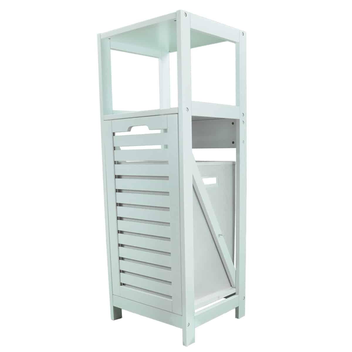 Tilt Out Laundry Linen Hamper Cabinet White