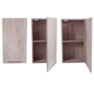 Wall Mounted Bath Cabinet Oslo 1 Door 1 Shelf Washed Gray Oak
