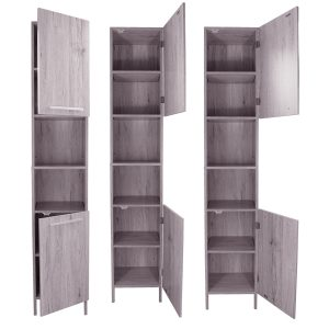 Bath Floor Cabinet Linen Tower 2 Doors- 2 Shelves Oslo Washed Gray Oak