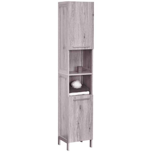 Bath Floor Cabinet Linen Tower 2 Doors- 2 Shelves Oslo Washed Gray Oak