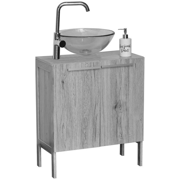 Non Pedestal Under Sink Storage Vanity Cabinet Oslo Gray Oak