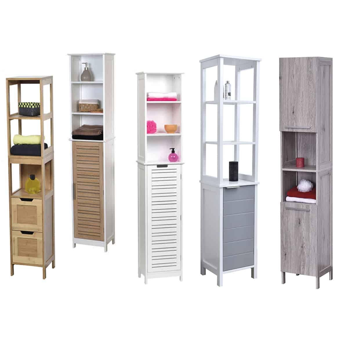 Bath Floor Cabinet Linen Tower 2 Doors- 2 Shelves Oslo ...