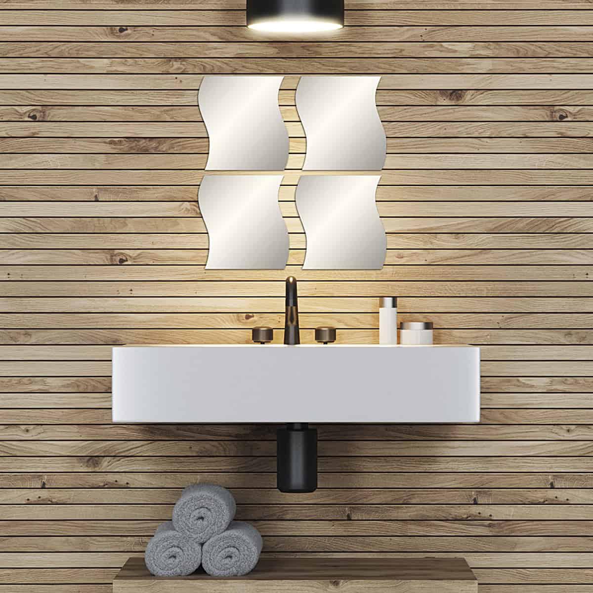 Small Decorative Wall Self Adhesive Shaped Mirrors Set Of 4