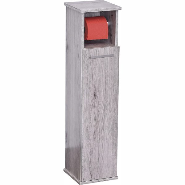 2 in 1 Toilet Roll Holder and Storage Unit Cabinet-Oslo-Washed Grey Oak