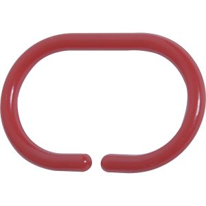 Shower Curtain Rings Plastic Hooks Solid And Clear Color Set of 12 Solid Red