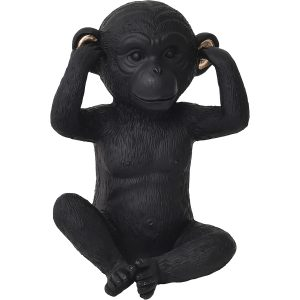 Wise Monkey Hear-No Evil Model- Resin - Black Gold