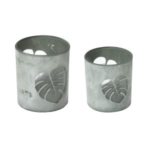Decorative Tropical Leaf Design Glass Candle Holder Set Of 2 - Washed Almond Green