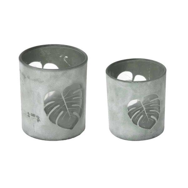 Decorative Tropical Leaf Design Glass Candle Holder Set Of 2 - Washed Almond Green
