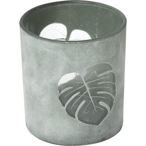 Decorative Tropical Leaf Design Glass Candle Holder - Small Size - Washed Almond Green