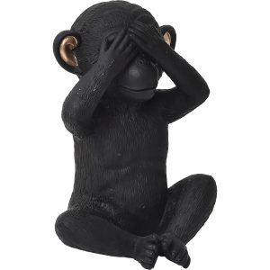 Wise Monkey See-No Evil Model - Resin - Black Gold