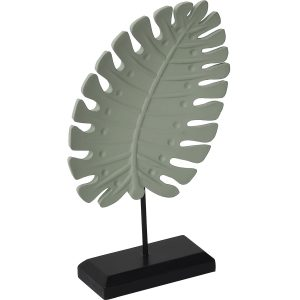 Exotic Leaf On Wood Stand Statuette - Almond Green