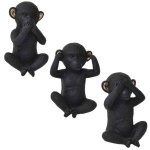 Wise Monkey Hear-No Evil Model- Resin - Black Gold