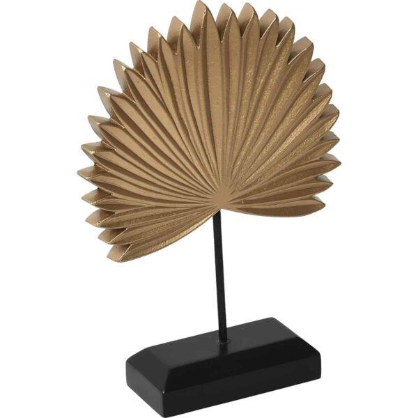 Travellers Tree Statuette-Wood Metal-Black Gold