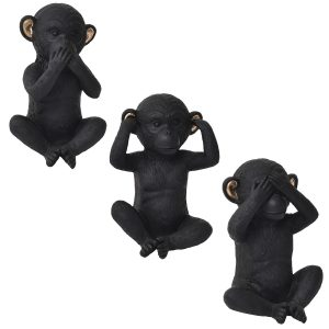 Wise Monkeys Speak-Hear-See-No Evil - Resin - Black Gold-Set of 3