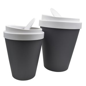 Set 2 Coffee Cup Trash Can 1.3 Gallons and 2.3 Gallons