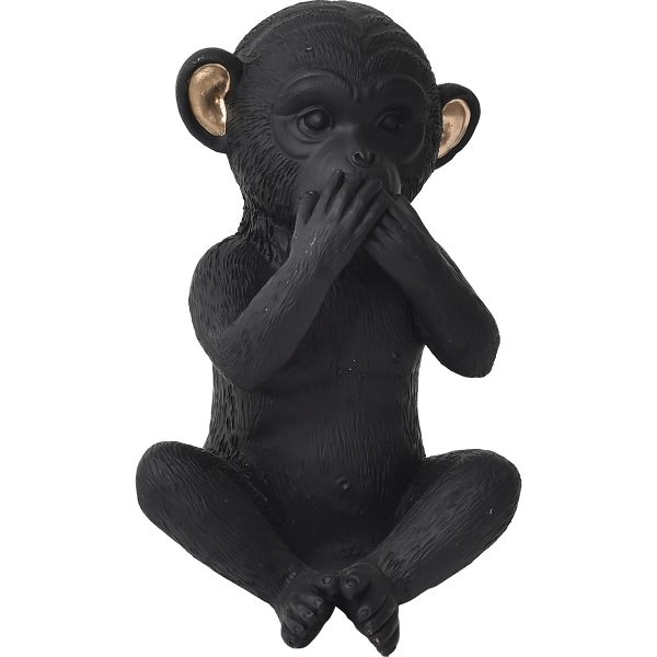 Wise Monkey Speak-No Evil Model - Resin - Black Gold