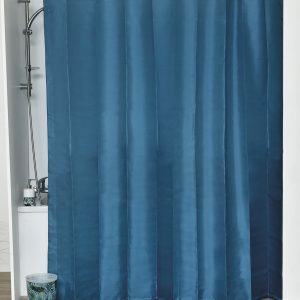 Design S Fabric Polyester Shower Curtain with 12 Matching Rings Peacock Blue