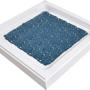 Non Skid Bath Shower Oval Bubbles Bath Mat 20 x 20 - Peacock Blue