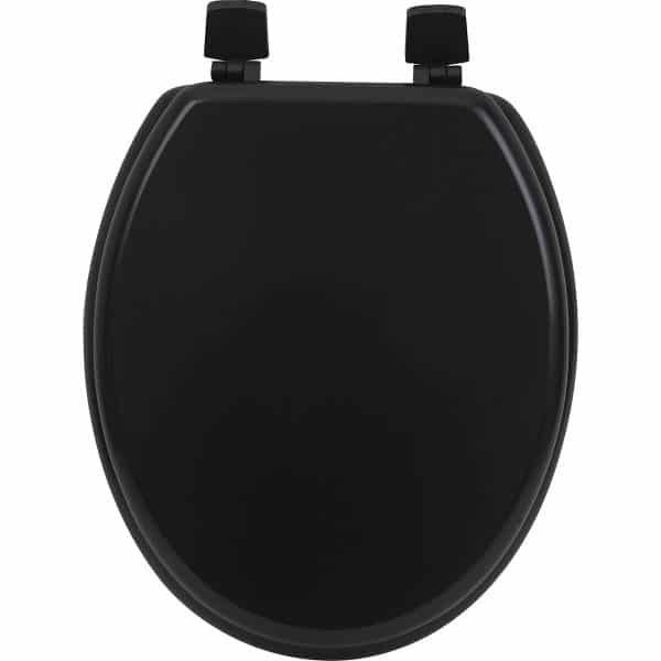 Oval Toilet Seat Solid Matte Black Wood