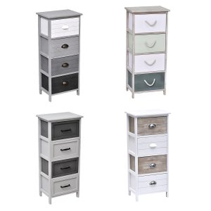 4 Drawers Storage Unit Wood -Metal Handles- Natual-White and Green