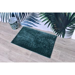 Satiny Microfiber Bath Mat Shaggy Loop 20 X 31 - Peacock Blue