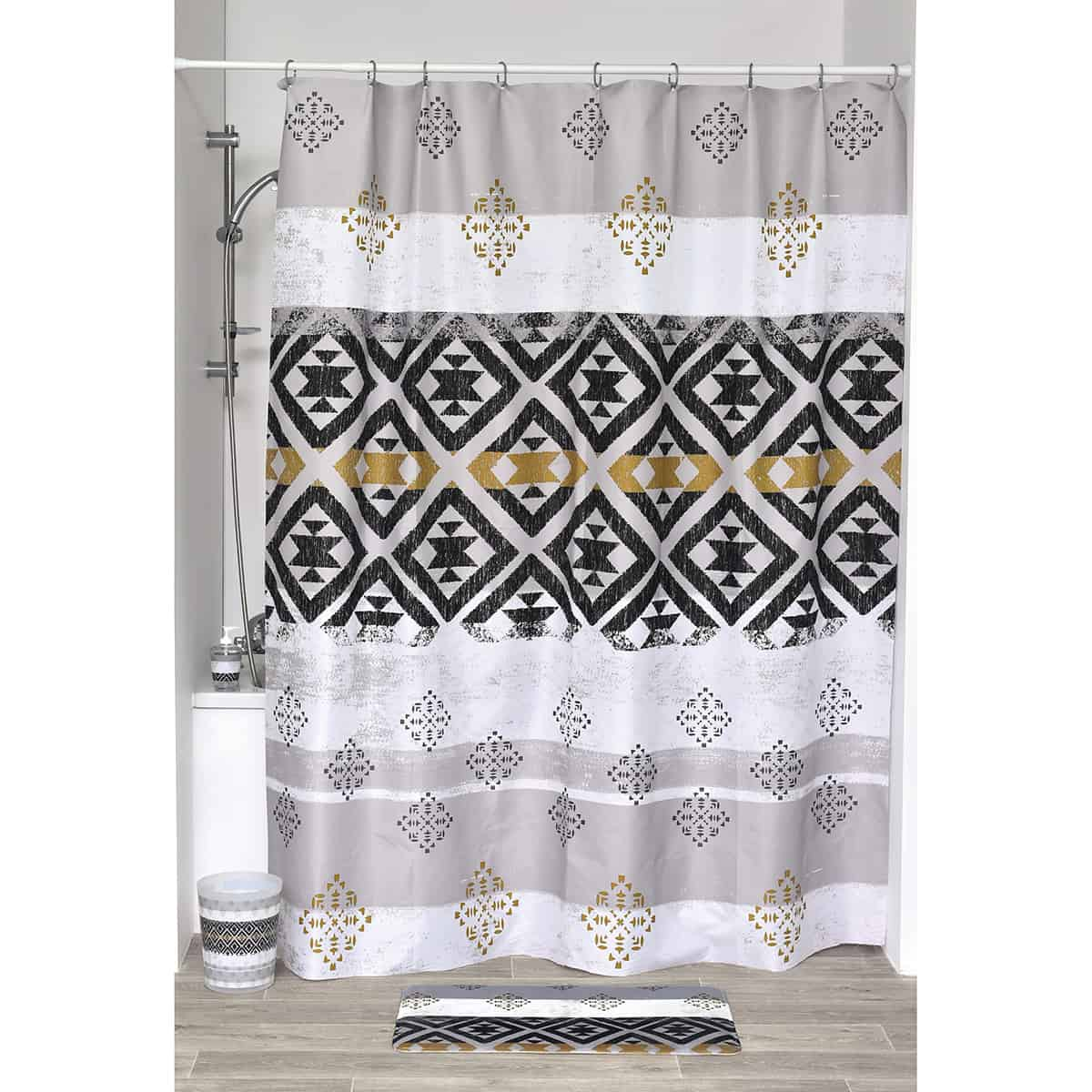 """Kenya Printed Polyester Fabric Shower Curtain 71""""W X 79""""H"""