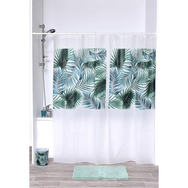Tropical Collection Printed Peva Liner Shower Curtain Plastic 71x73