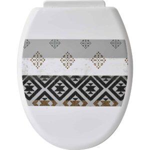 Kenya Round Toilet Seat PP -Pattern 16.8 L x 14 W