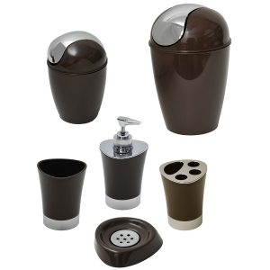 SHINY Collection Bath Accessory Set-6 Pieces Brown