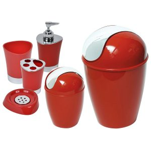 SHINY Collection Bath Accessory Set-6 Pieces Red