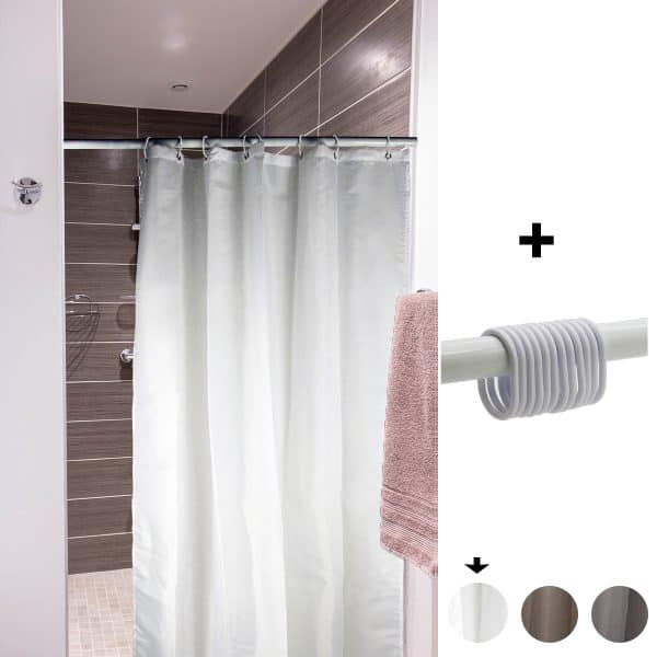 Mildew Resistant Small Stall Shower Curtain Liner Narrow Size 48 W x 72 H Inch 8 Matching Rings White