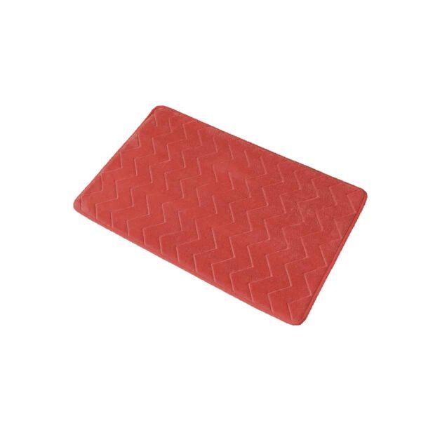 Zigzag Geometric Chevron Bath Mat Non-Skid Memory Foam Coral Orange