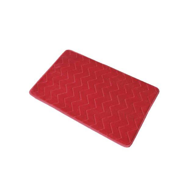 Zigzag Geometric Chevron Bath Mat Non-Skid Memory Foam Raspberry Pink