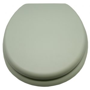 """Oval Toilet Seat Solid Almond Green 17.5"""" Wood"""